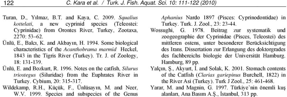 Some biological characteristics of the Acanthobrama marmid Heckel, 1843 in the Tigris River (Turkey). Tr. J. of Zoology, 18: 131-139. Ünlü, E. and Bozkurt, R. 1996.