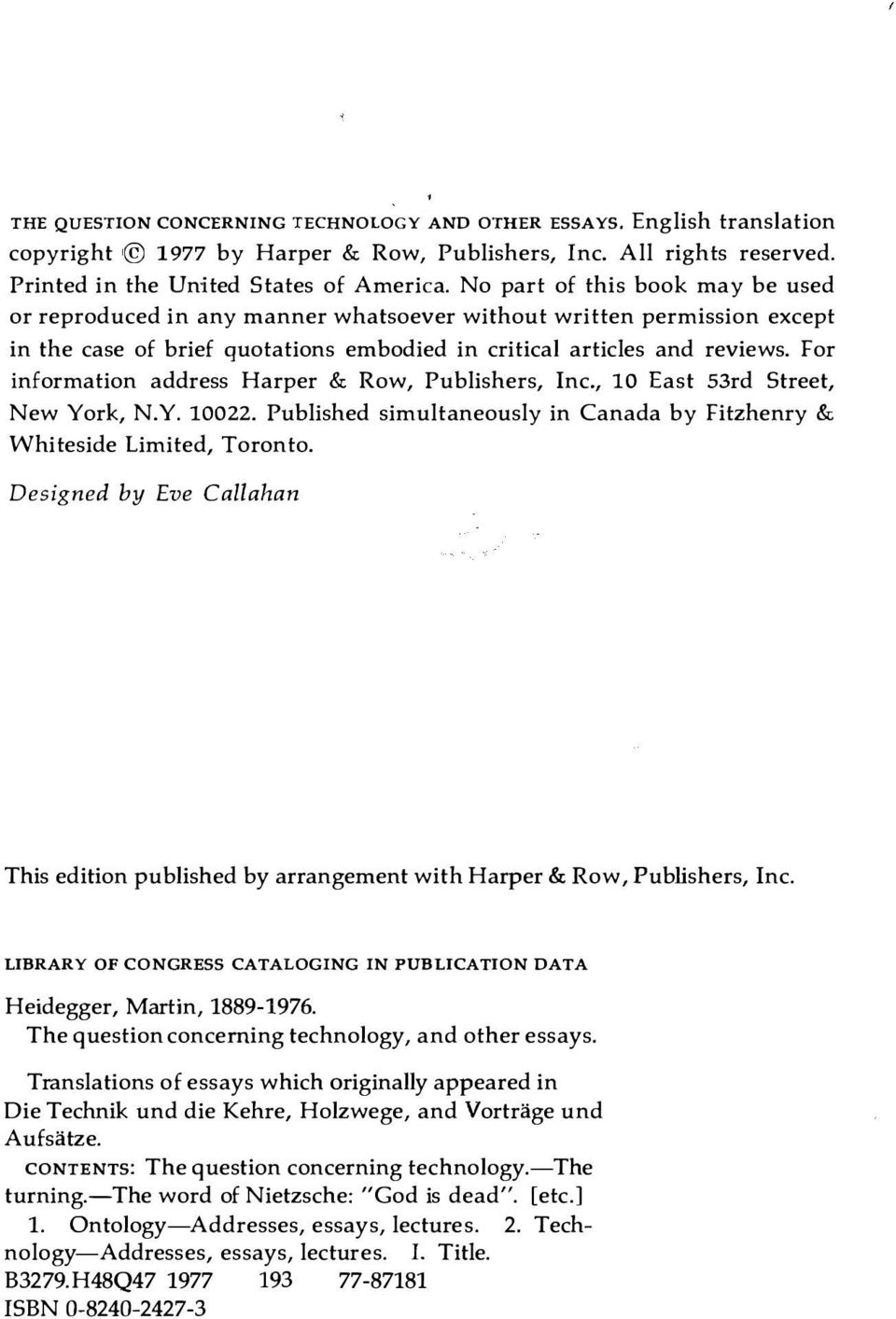 For information address Harper & Row, Publishers, Inc., 10 East 53rd Street, New York, N.Y. 10022. Published simultaneously in Canada by Fitzhenry & Whiteside Limited, Toronto.