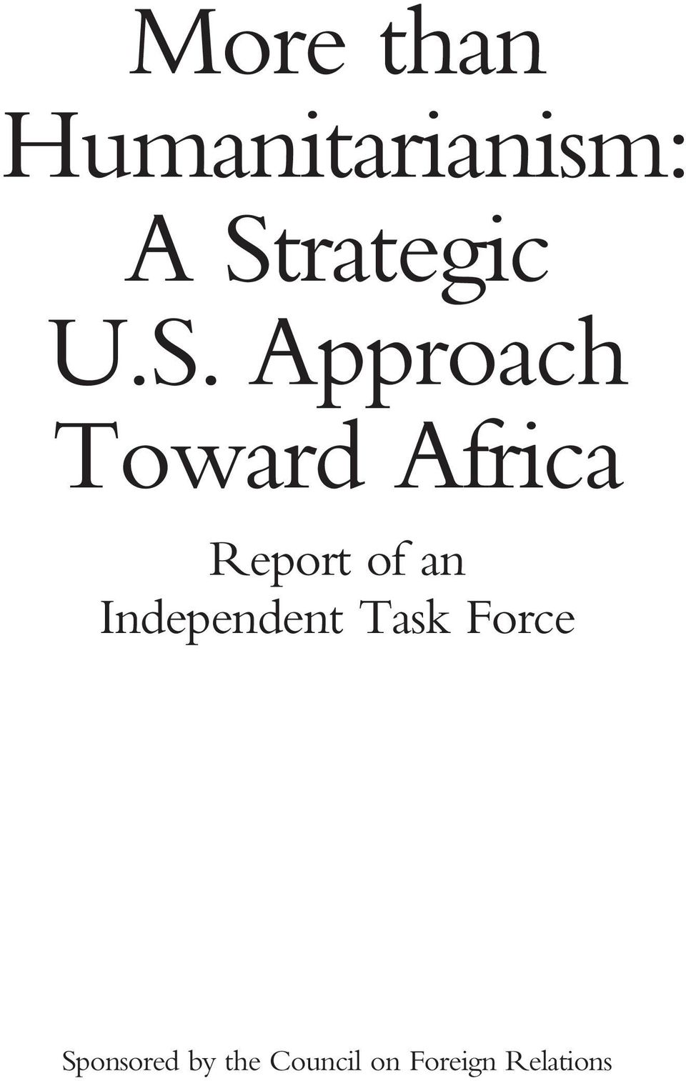 Africa Report of an Independent Task