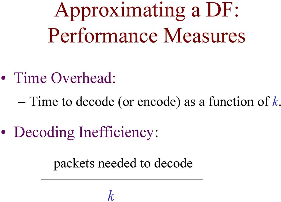 decode (or encode) as a function of k.