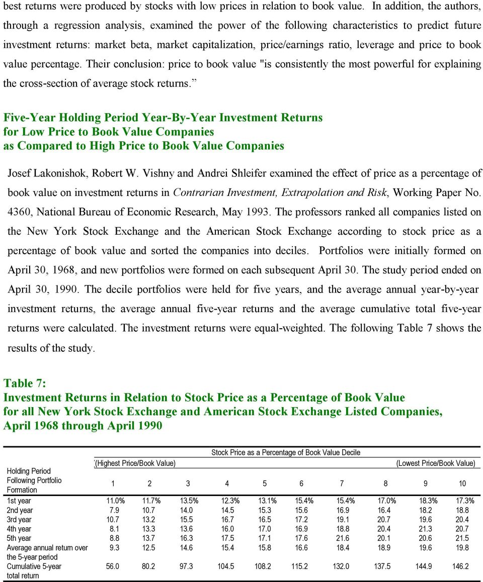 "ratio, leverage and price to book value percentage. Their conclusion: price to book value ""is consistently the most powerful for explaining the cross-section of average stock returns."