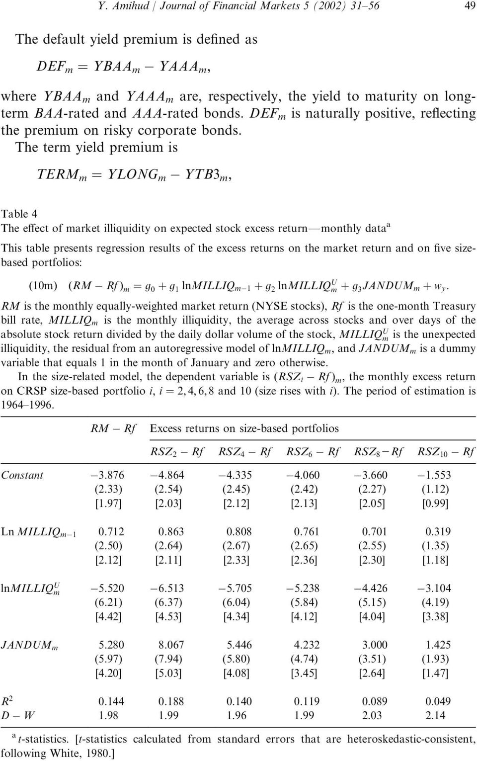 The termyield premiumis TERM m ¼ YLONG m YTB3 m ; Table 4 The effect of market illiquidity on expected stock excess returnfmonthly data a This table presents regression results of the excess returns