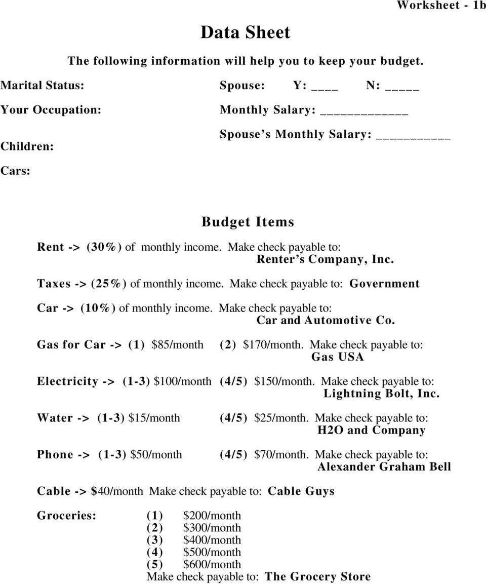 Taxes -> (25%) of monthly income. Make check payable to: Government Car -> (10%) of monthly income. Make check payable to: Car and Automotive Co. Gas for Car -> (1) $85/month (2) $170/month.