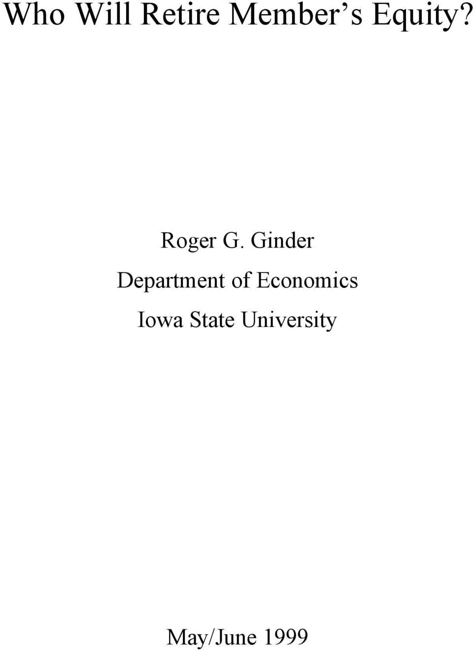 Ginder Department of
