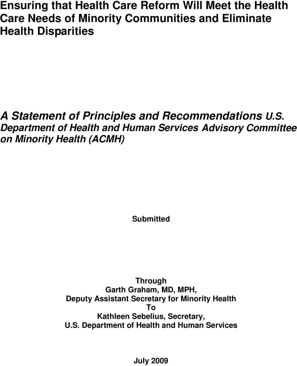 atement of Principles and Recommendations U.S.