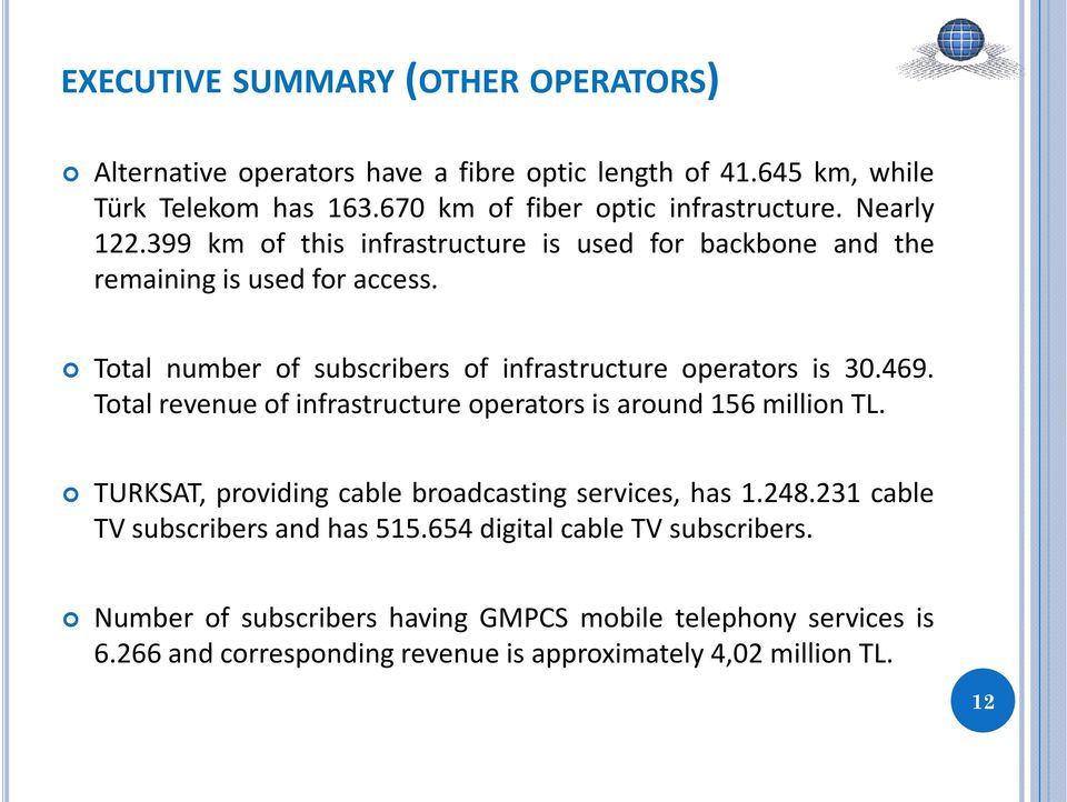 469. Total revenue of infrastructure operators is around 156 million TL. TURKSAT, providing cable broadcasting services, has 1.248.
