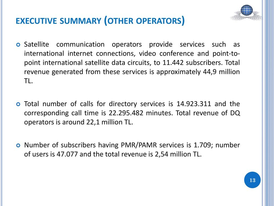 Total revenue generated from these services is approximately 44,9 million TL. Total number of calls for directory services is 14.923.