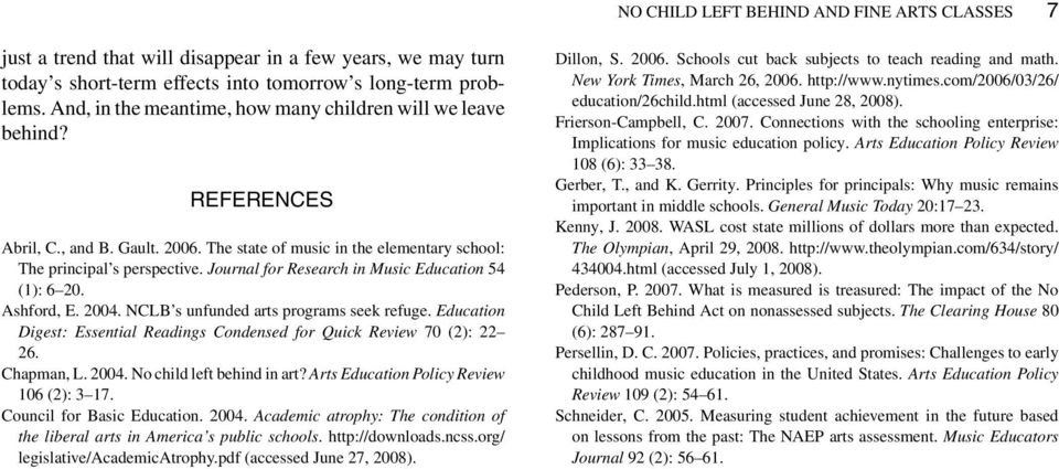 Journal for Research in Music Education 54 (1): 6 20. Ashford, E. 2004. NCLB s unfunded arts programs seek refuge. Education Digest: Essential Readings Condensed for Quick Review 70 (2): 22 26.