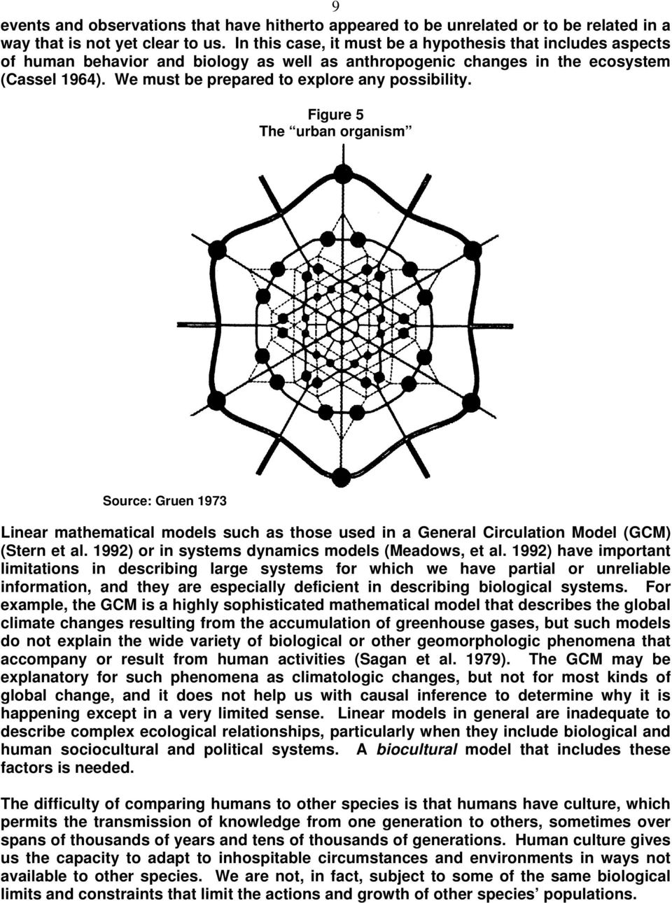 We must be prepared to explore any possibility. Figure 5 The urban organism Source: Gruen 1973 Linear mathematical models such as those used in a General Circulation Model (GCM) (Stern et al.
