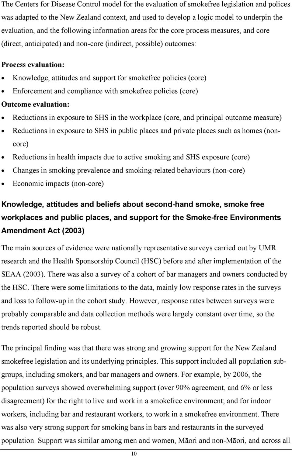smokefree policies (core) Enforcement and compliance with smokefree policies (core) Outcome evaluation: Reductions in exposure to SHS in the workplace (core, and principal outcome measure) Reductions