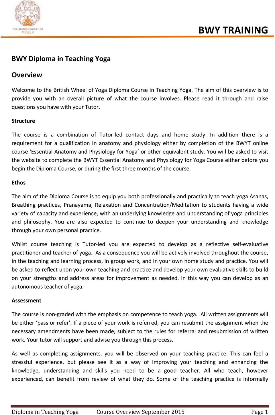 BWY TRAINING. BWY Diploma in Teaching Yoga. Overview - PDF