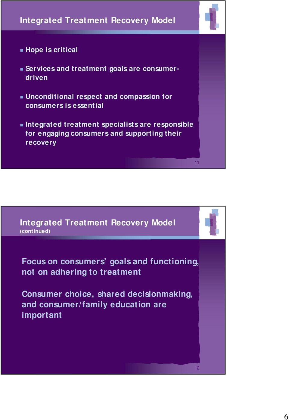 consumers and supporting their recovery 11 Integrated Treatment Recovery Model (continued) Focus on consumers goals and