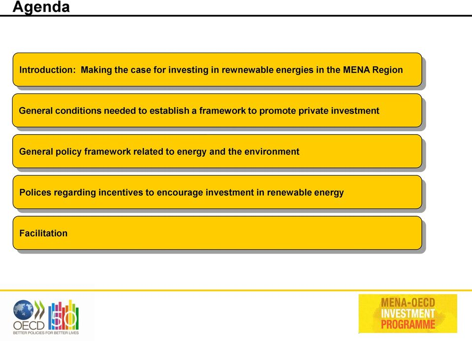private investment General policy framework related to energy and the