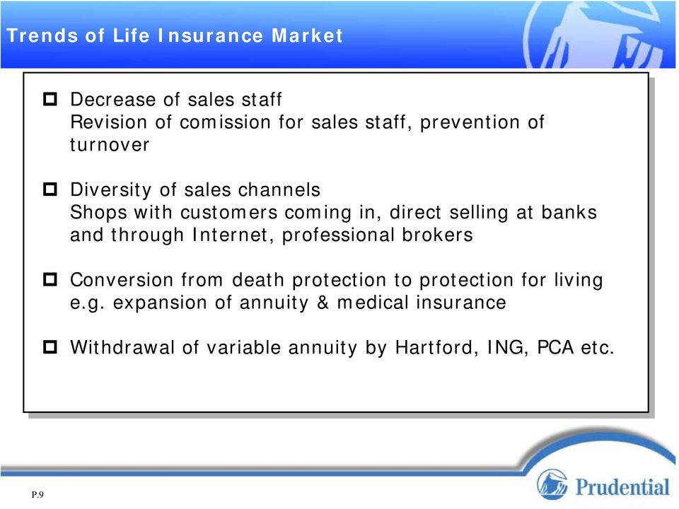 banks and through Internet, professional brokers Conversion from death protection to protection for