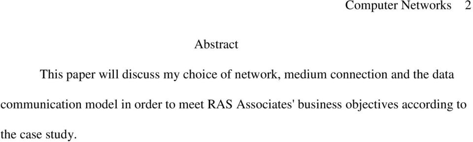 the data communication model in order to meet RAS