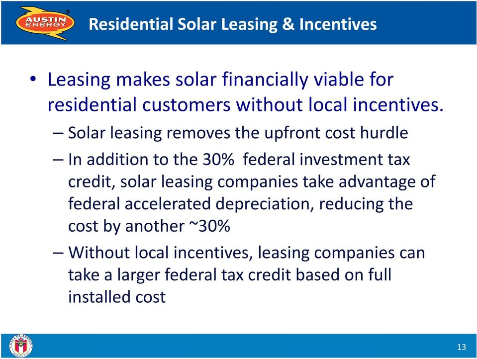 Solar leasing removes the upfront cost hurdle In addition to the 30% federal investment tax credit, solar