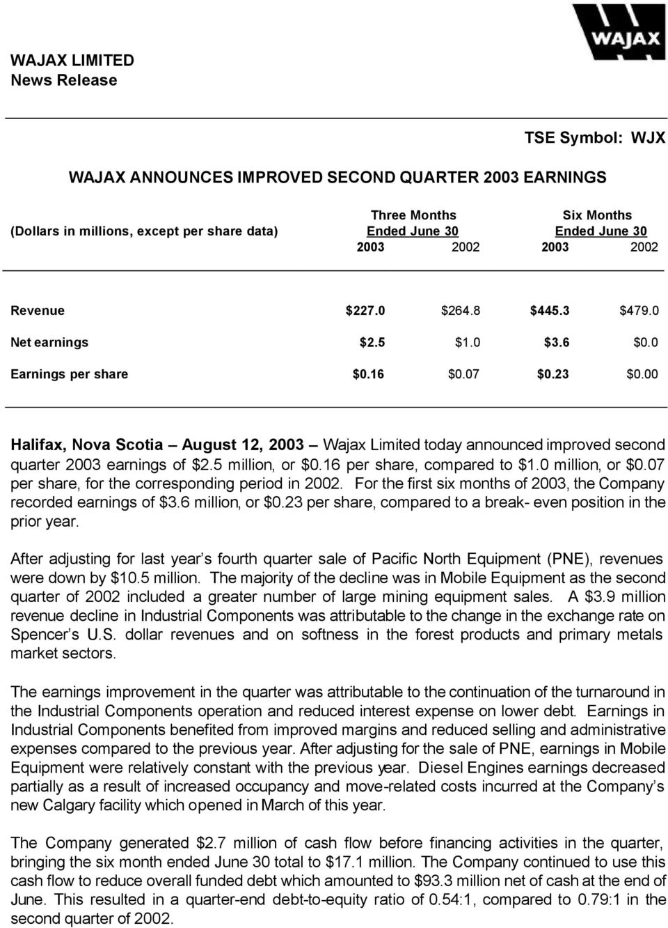 00 Halifax, Nova Scotia August 12, 2003 Wajax Limited today announced improved second quarter 2003 earnings of 2.5 million, or 0.16 per share, compared to 1.0 million, or 0.