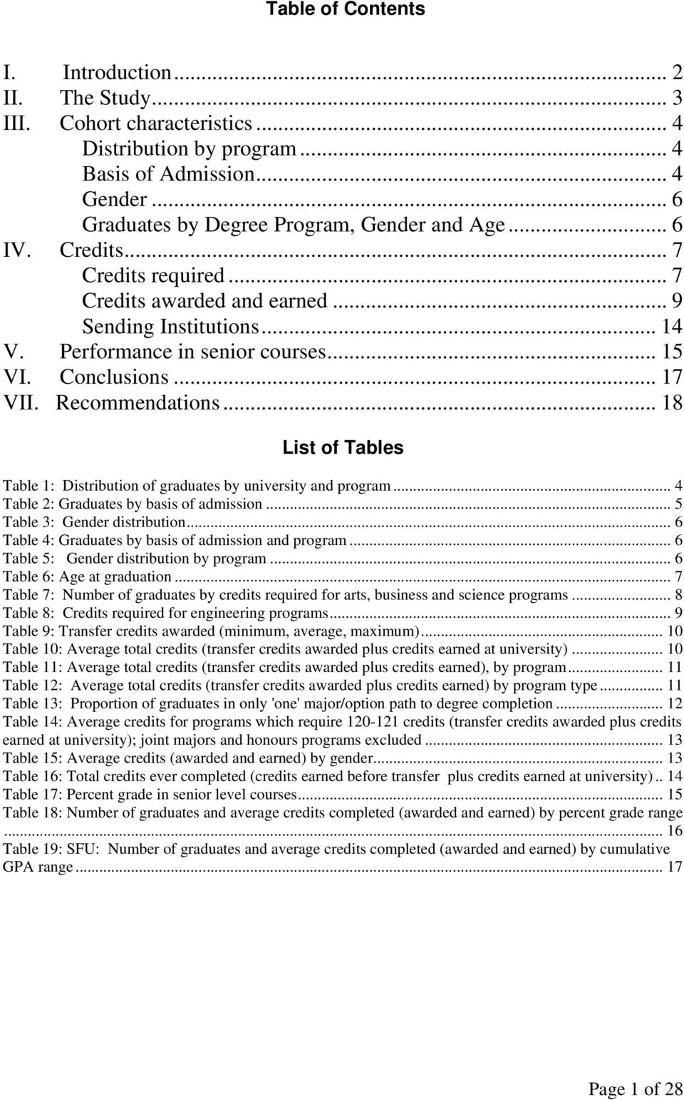 .. 18 List of Tables Table 1: Distribution of graduates by university and program... 4 Table 2: Graduates by basis of admission... 5 Table 3: Gender distribution.