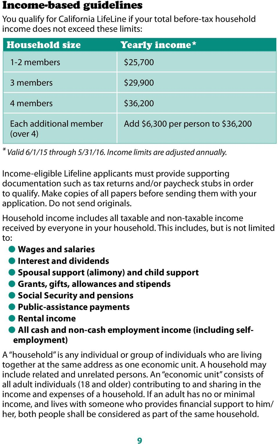 Income-eligible Lifeline applicants must provide supporting documentation such as tax returns and/or paycheck stubs in order to qualify.