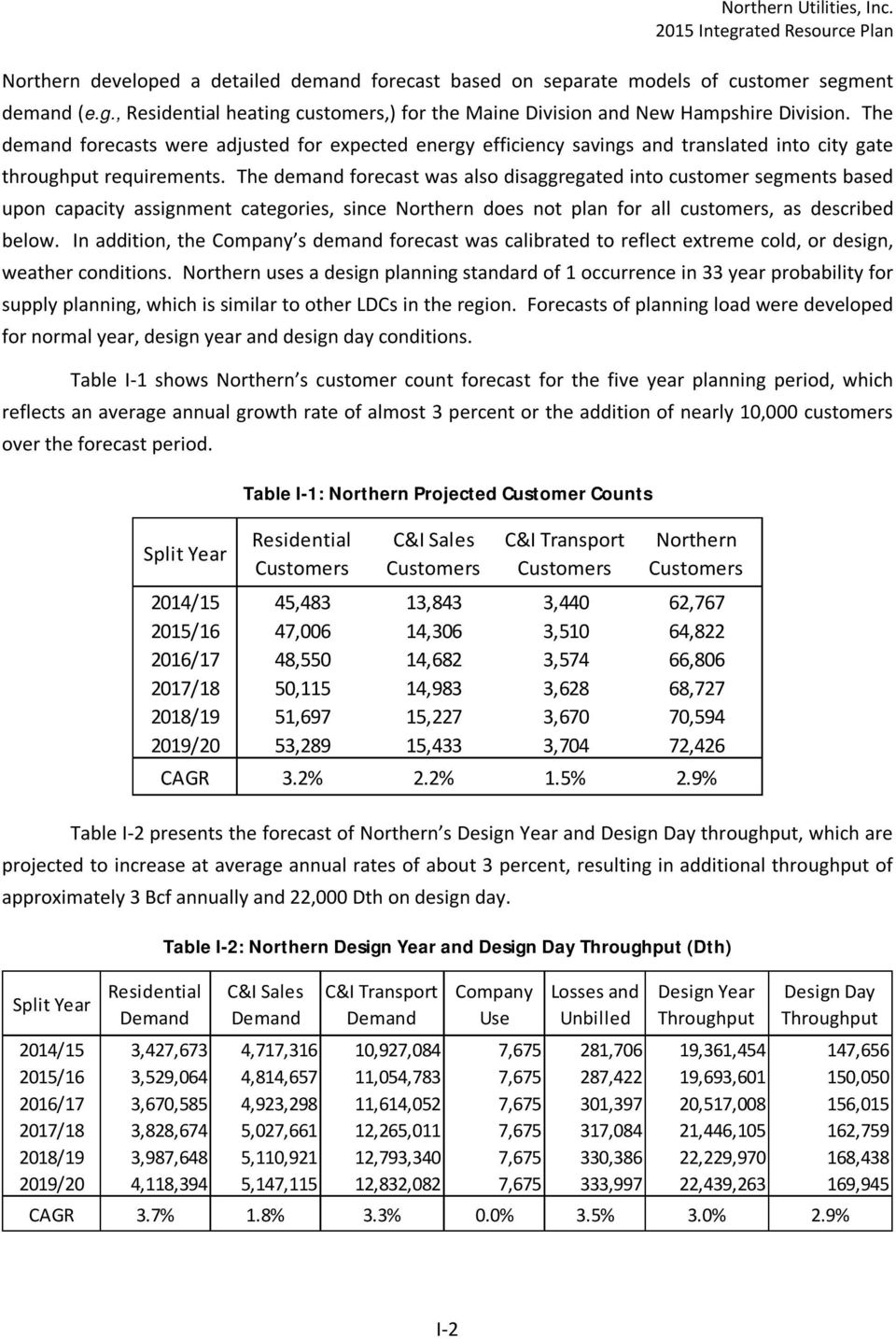 The demand forecast was also disaggregated into customer segments based upon capacity assignment categories, since Northern does not plan for all customers, as described below.