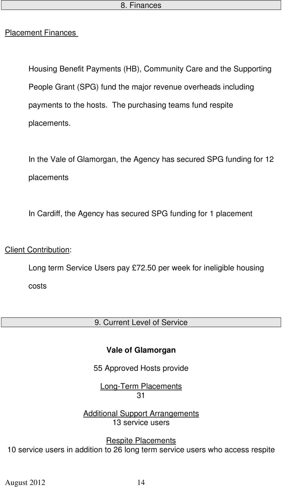 In the Vale of Glamorgan, the Agency has secured SPG funding for 12 placements In Cardiff, the Agency has secured SPG funding for 1 placement Client Contribution: Long term