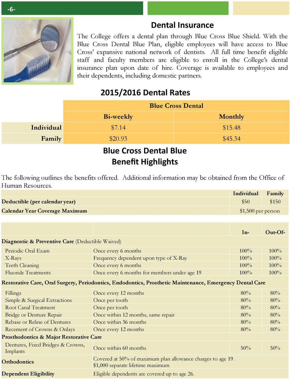 Coverage is available to employees and their dependents, including domestic partners. Blue Cross Dental Blue Benefit Highlights The following outlines the benefits offered.