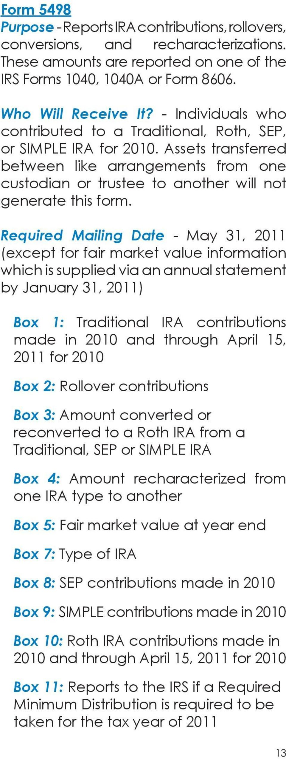 Required Mailing Date - May 31, 2011 (except for fair market value information which is supplied via an annual statement by January 31, 2011) Box 1: Traditional IRA contributions made in 2010 and