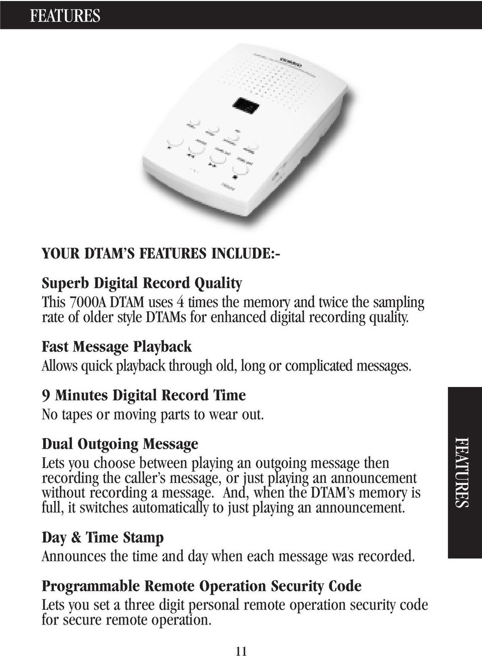 7000A  Digital Telephone Answering Machine  Operating Guide for