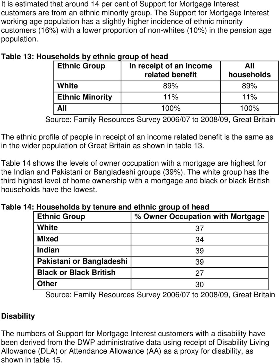Table 13: Households by ethnic group of head Ethnic Group In receipt of an income related benefit All households White 89% 89% Ethnic Minority 11% 11% All 100% 100% Source: Family Resources Survey