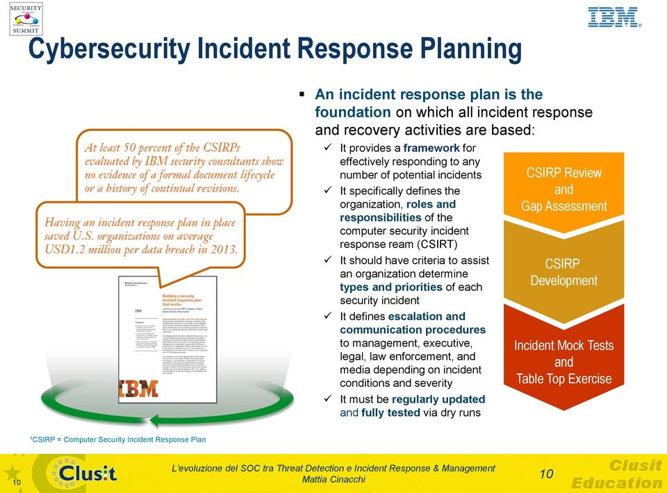assist an organization determine types and priorities of each security incident It defines escalation and communication procedures to management, executive, legal, law enforcement, and media