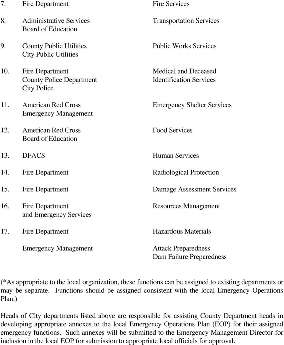 American Red Cross Food Services Board of Education 13. DFACS Human Services 14. Fire Department Radiological Protection 15. Fire Department Damage Assessment Services 16.