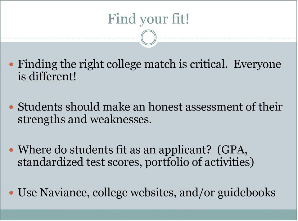 Students should make an honest assessment of their strengths and weaknesses.