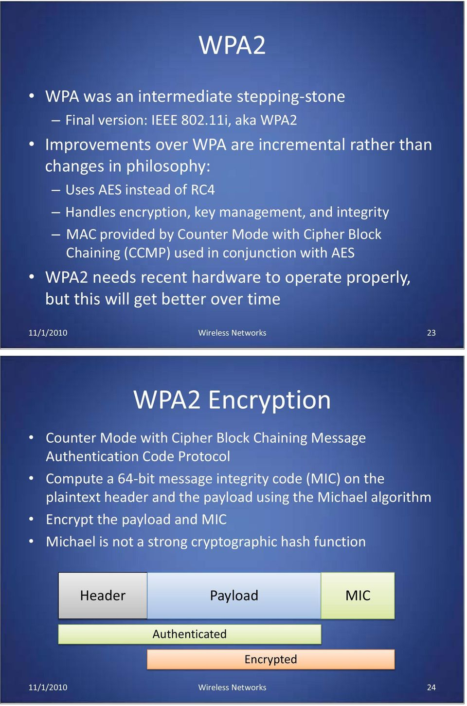 Cipher Block Chaining (CCMP) used in conjunction with AES WPA2 needs recent hardware to operate properly, but this will get better over time 11/1/2010 Wireless Networks 23 WPA2 Encryption Counter