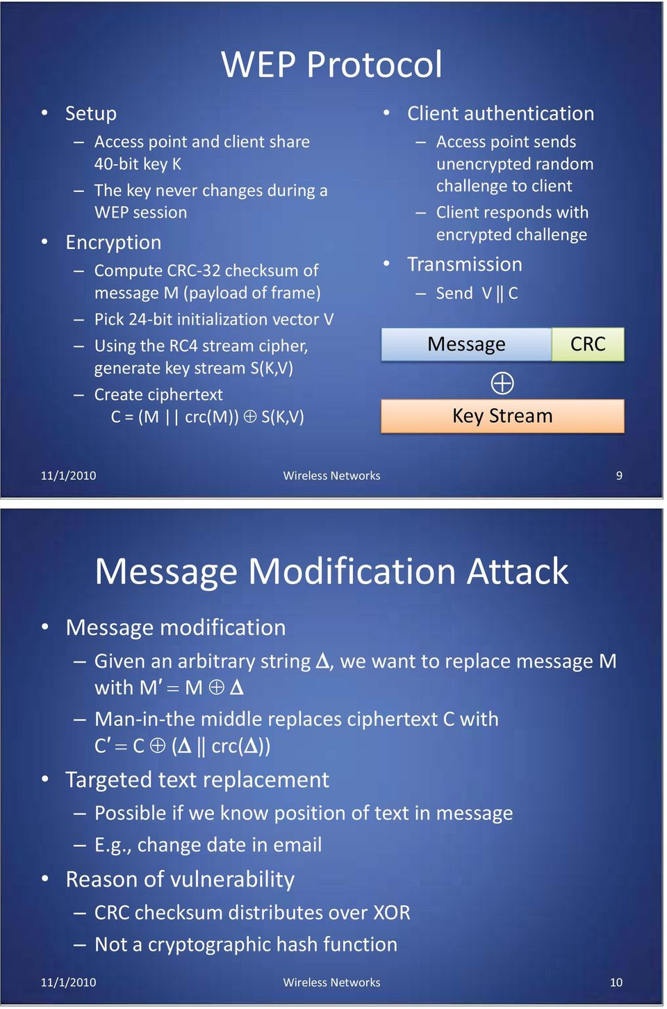 responds with encrypted challenge Transmission Send V C Message Key Stream CRC 11/1/2010 Wireless Networks 9 Message Modification Attack Message modification Given an arbitrary string, we want to