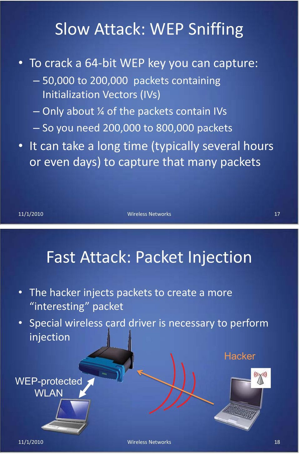 days) to capture that many packets 11/1/2010 Wireless Networks 17 Fast Attack: Packet Injection The hacker injects packets to create a