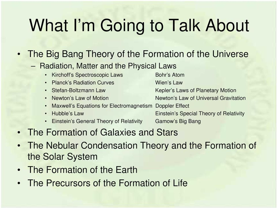 Equations for Electromagnetism Doppler Effect Hubble s Law Einstein s Special Theory of Relativity Einstein s General Theory of Relativity Gamow s Big Bang The