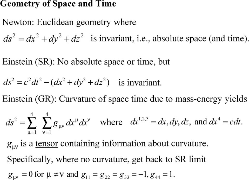 Einstein (GR): Curvature of space time due to mass-energy yields 4 ds = g µ = 1 4 ν = 1 µν dx µ dx ν where 1,,3 4 dx = dx dy dz