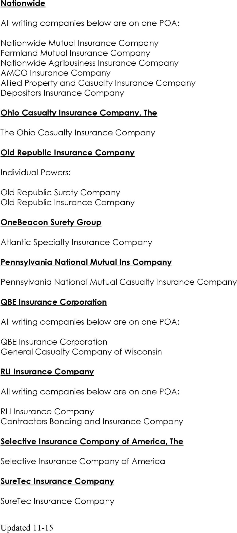 OneBeacon Surety Group Atlantic Specialty Insurance Company Pennsylvania National Mutual Ins Company Pennsylvania National Mutual Casualty Insurance Company QBE Insurance Corporation QBE Insurance