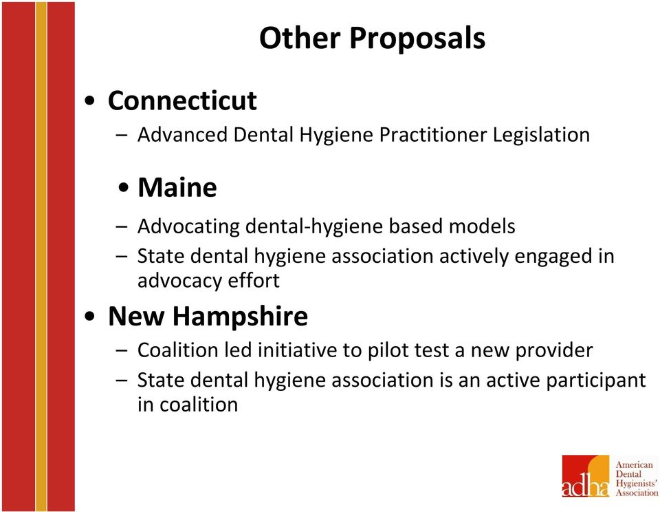 engaged in advocacy effort New Hampshire Coalition led initiative to pilot test a