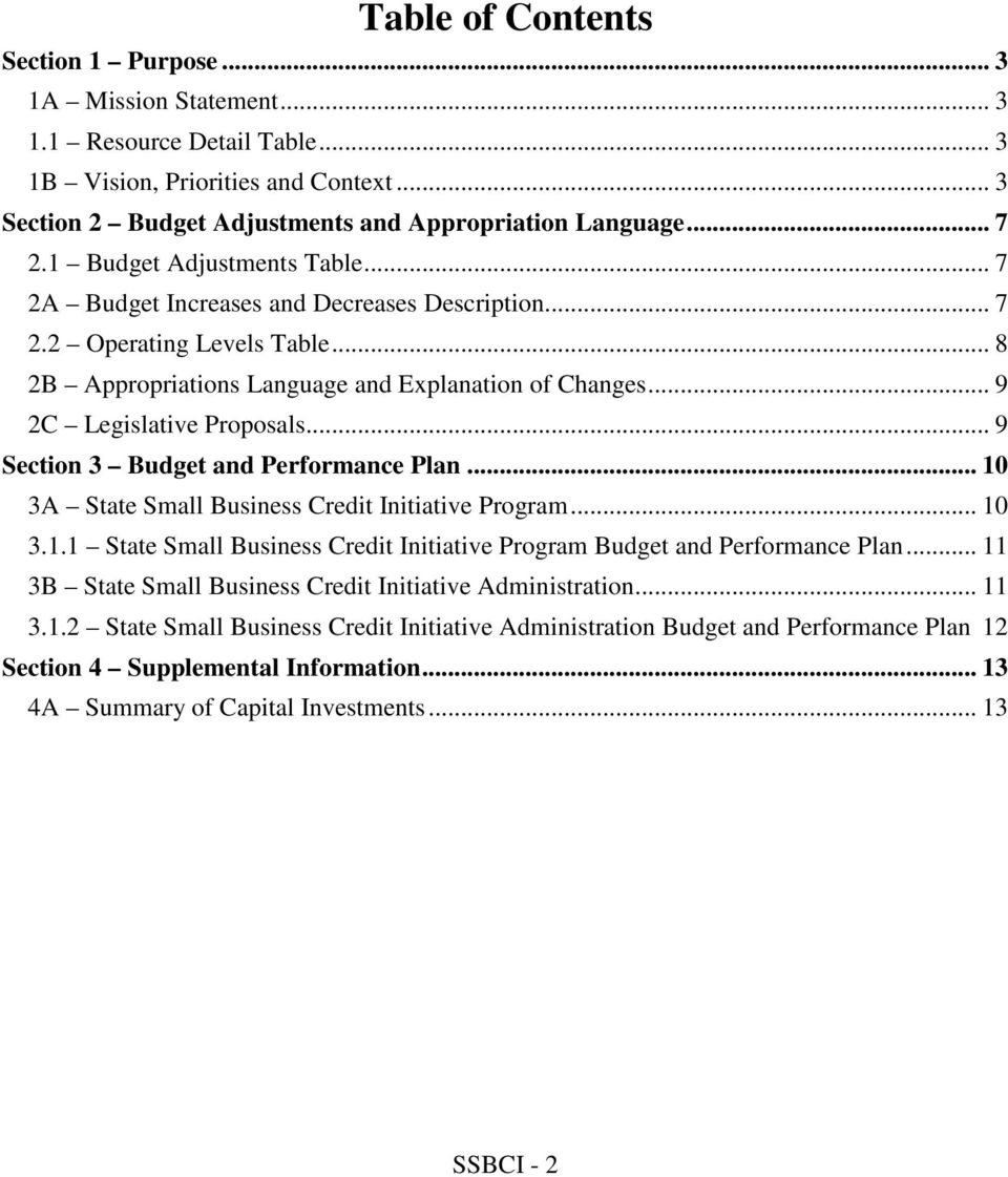 .. 9 Section 3 Budget and Performance Plan... 10 3A State Small Business Credit Initiative Program... 10 3.1.1 State Small Business Credit Initiative Program Budget and Performance Plan.