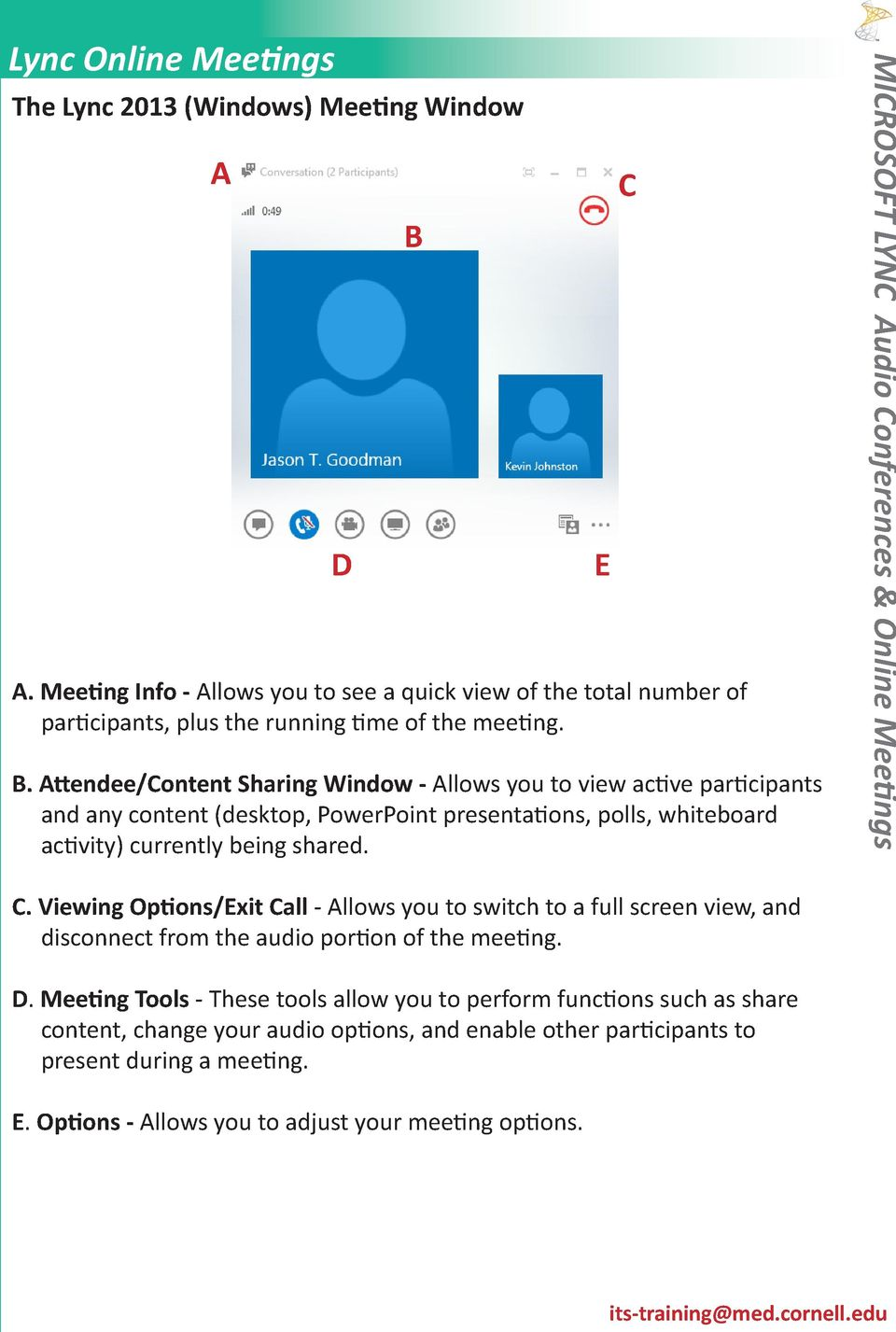E C C. Viewing Options/Exit Call - Allows you to switch to a full screen view, and disconnect from the audio portion of the meeting. D.
