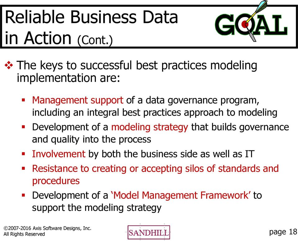 integral best practices approach to modeling Development of a modeling strategy that builds governance and quality into the process