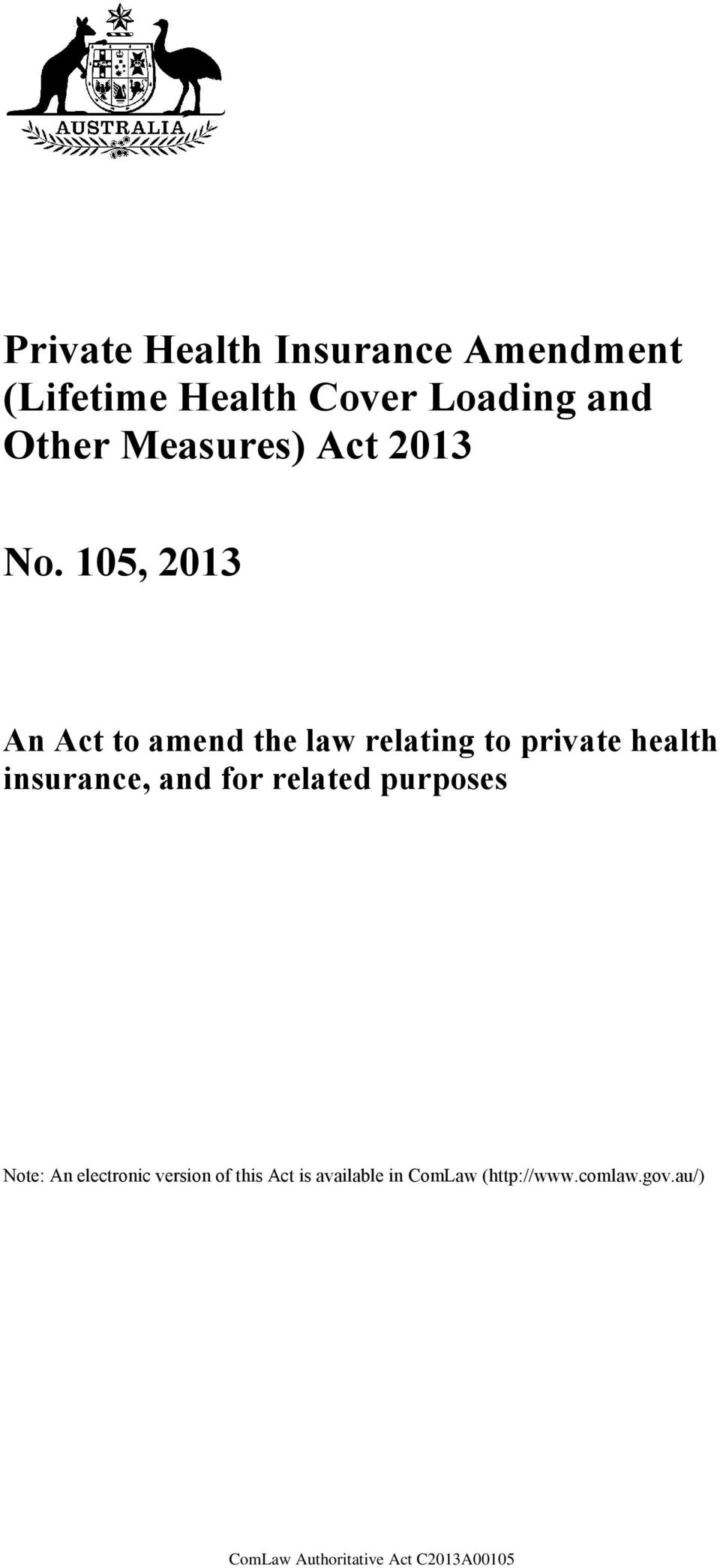 105, 2013 An Act to amend the law relating to private health insurance,