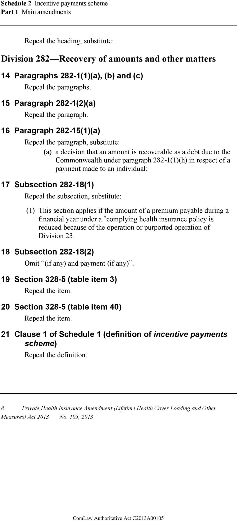 16 Paragraph 282-15(1)(a) Repeal the paragraph, substitute: (a) a decision that an amount is recoverable as a debt due to the Commonwealth under paragraph 282-1(1)(h) in respect of a payment made to
