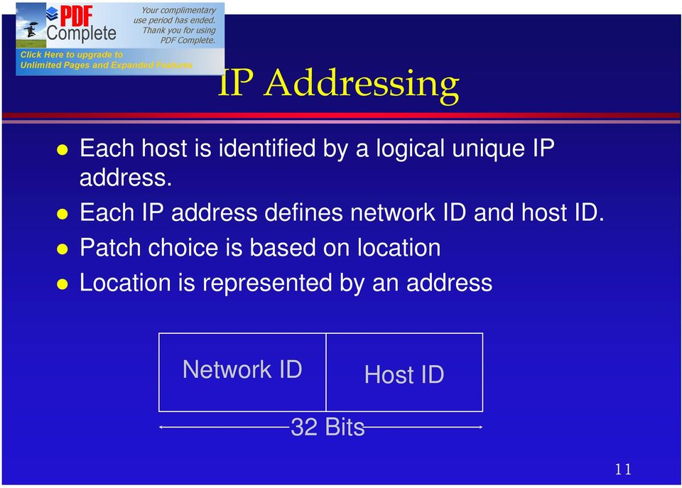 Each IP address defines network ID and host ID.