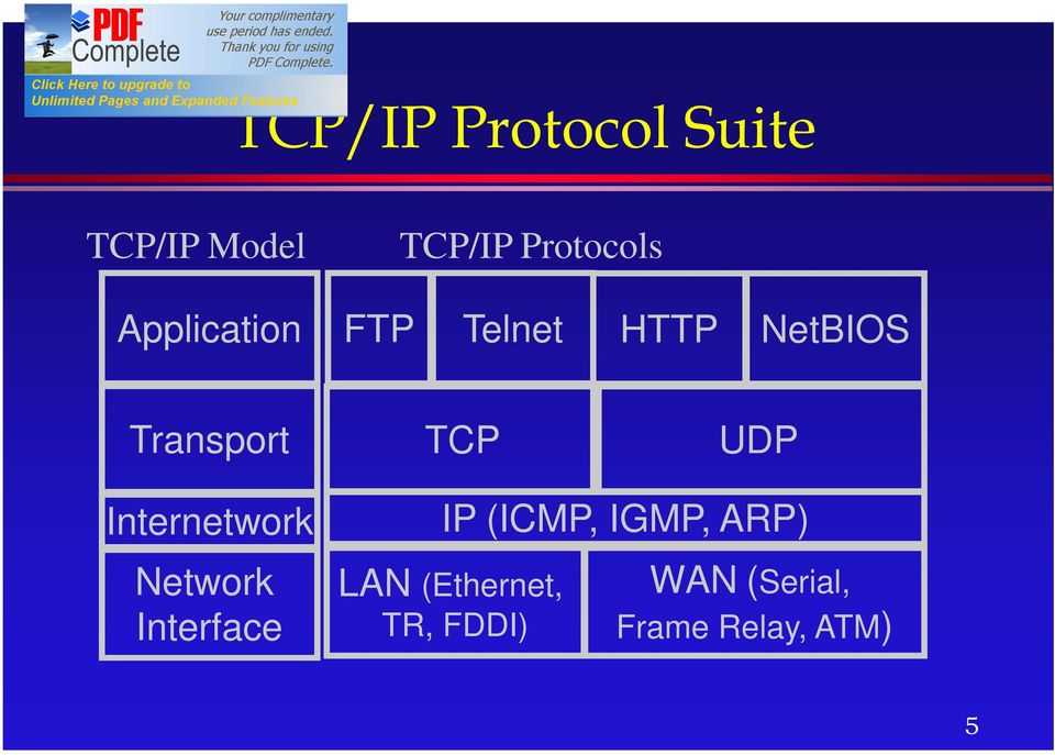 Internetwork Network Interface IP (ICMP, IGMP, ARP)
