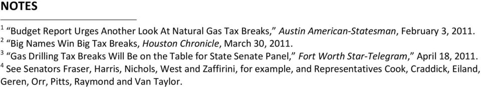 3 Gas Drilling Tax Breaks Will Be on the Table for State Senate Panel, Fort Worth Star-Telegram, April 18, 2011.