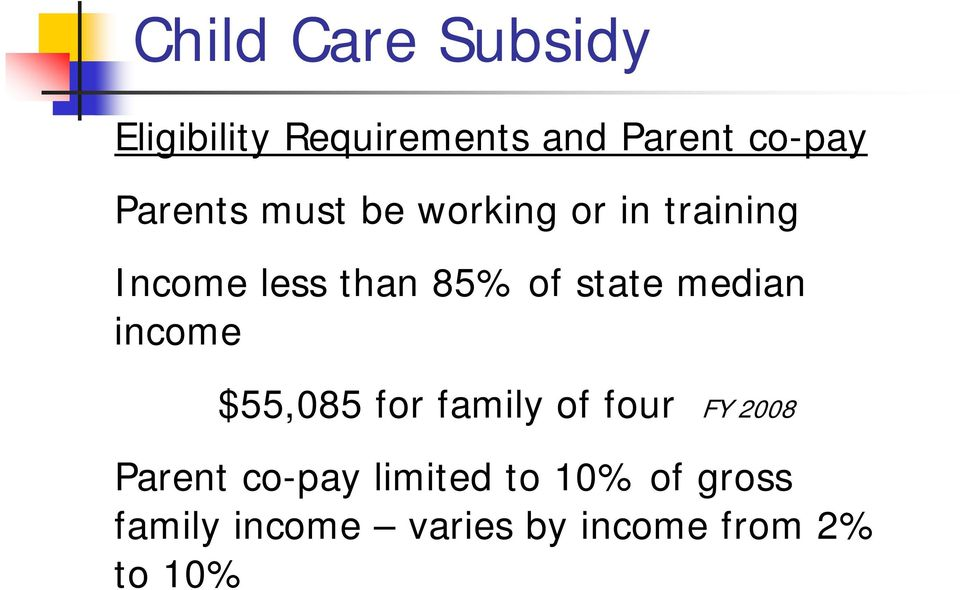 state median income $55,085 for family of four FY 2008 Parent