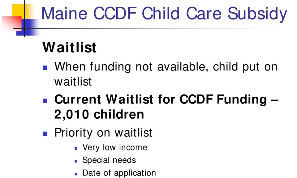 Waitlist for CCDF Funding 2,010 children Priority