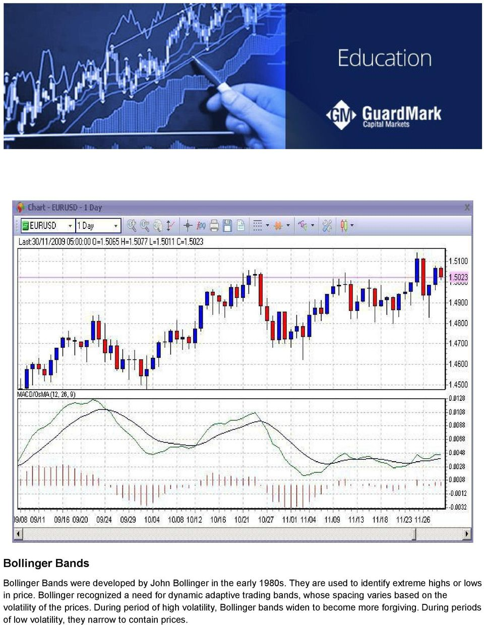 Bollinger recognized a need for dynamic adaptive trading bands, whose spacing varies based on the